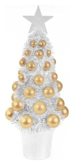 Новогоднее украшение ёлка золотая с декором из ПВХ 12,2x11x29,5см арт.82349  NNB