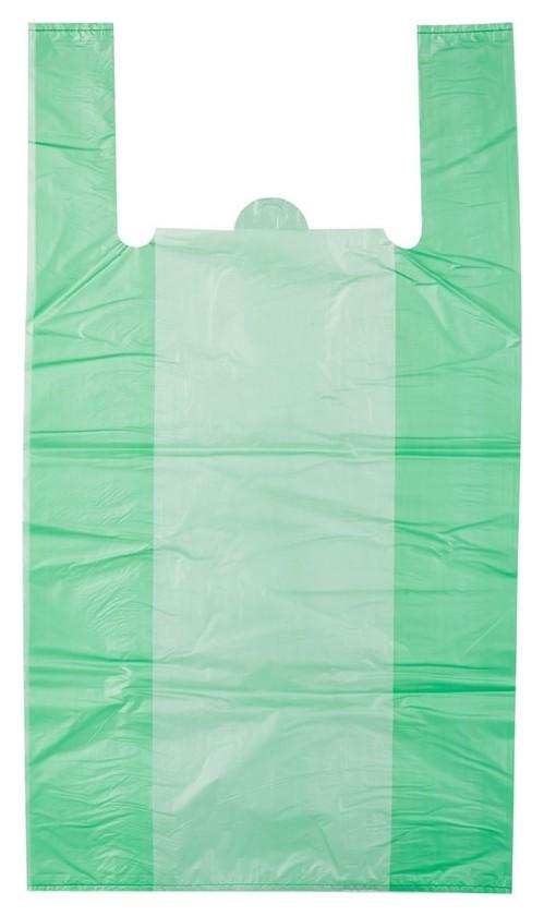Пакет-майка пакет-майка, пнд, 42+18x68см, зеленый, 35 мкм, 50 шт./уп.  Знак качества