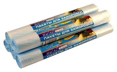 Пакет для заморозки био, пнд, 18мкм, 25х32см, 3 л, 25 шт./рул.  Знак качества