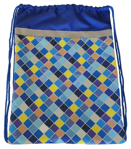 Мешок для обуви №1 School клетка синяя 370x470мм со светоотражателем,мсо-5с  №1 School