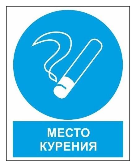 Знак безопасности Zk051 место курения (Пластик,200х250)  Гасзнак