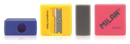 Точилка Milan Afila, 1 отверстие, пластик, цвет в ассорт. 2,7х2,7х1,3  Milan