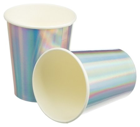 Стакан бумажный радужные фольгированные 220мл 6шт/уп арт.6058890  Пати Бум