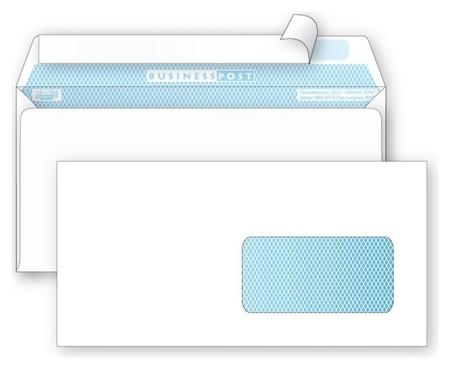 Конверты белый E65стрип пр.окноbusinesspost 110х220 1000шт/уп/1960  Packpost