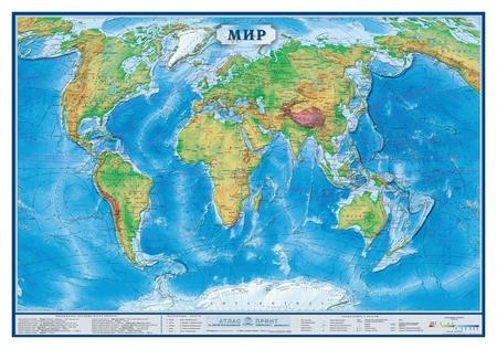 Настенная карта Мир физическая 1:34млн.,1,0х0,7м  Атлас принт