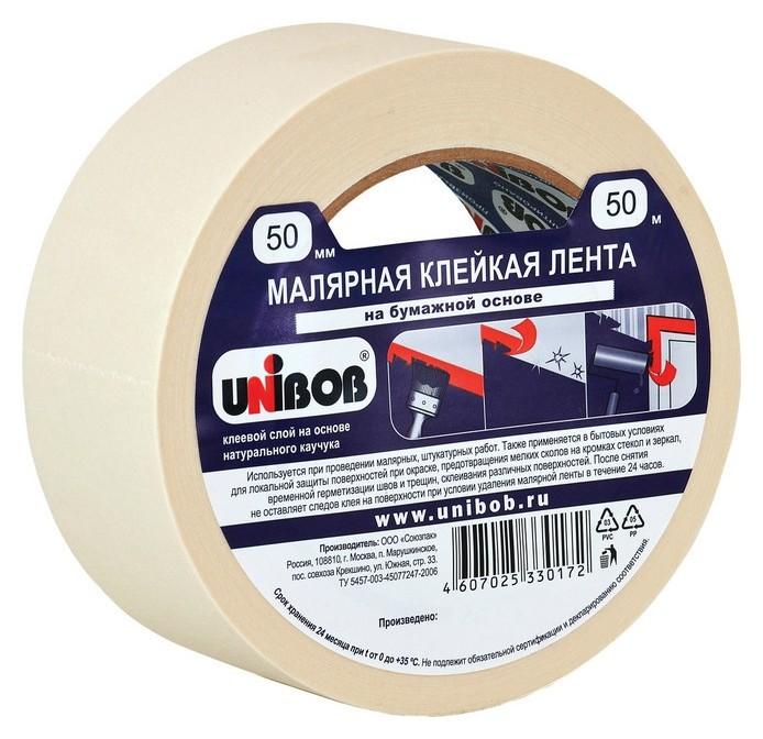 Клейкая лента малярная Unibob 50мм х 50м  Unibob