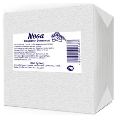 Салфетки Nega 1 сл 24х24 белые 90+/-10шт/уп  Nega