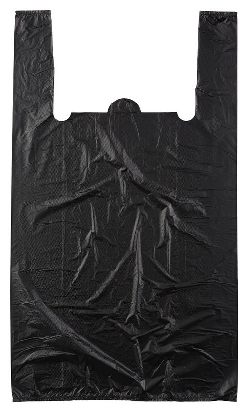 Пакет майка ПНД 38+20х68 15мкм 100шт./уп. черный  Знак качества