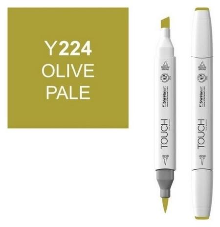 Маркер Touchbrushдвухстороннийцв.224зеленый оливковый бледный, 1210224  Touch