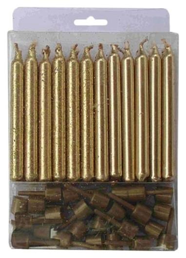 Набор свечей золотых с блестками 24(12+12)шт/уп с держателя 6см арт.6050528 Пати Бум
