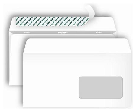 Конверты Postfix Е65 стрип,пр.окно110х220 80г/м2, 1000шт/уп  Bong