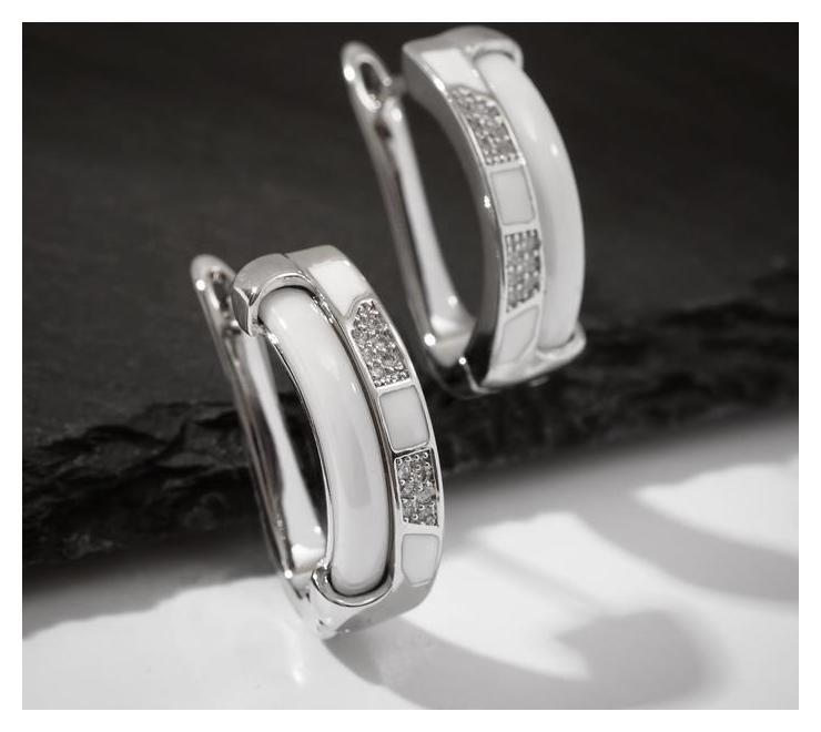 """Серьги керамика """"Шахматы"""", цвет белый в серебре  Vel Vett"""