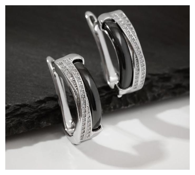 """Серьги керамика """"Сплетение"""", цвет чёрный в серебре  Vel Vett"""