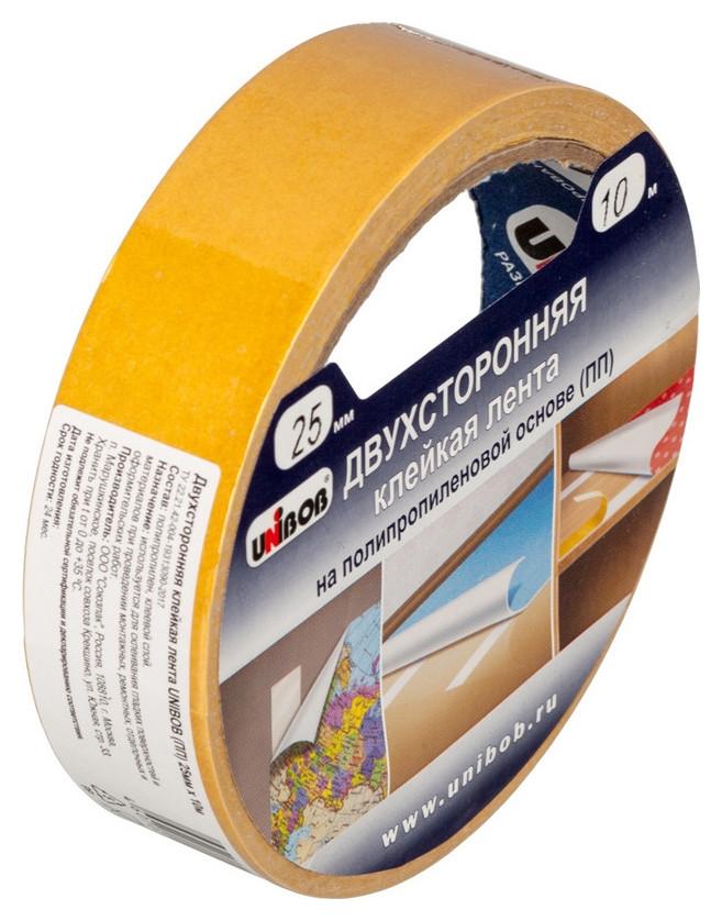 Клейкая лента двухсторонняя Unibob 25мм х 10м (Полипропилен)  Unibob