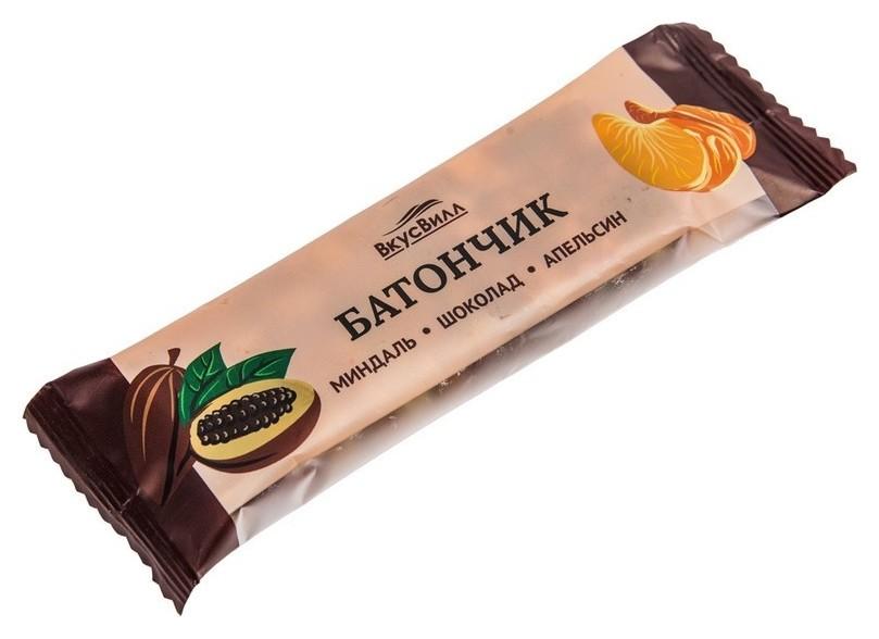 Батончик вкусвилл твердый миндаль-шоколад-апельсин, 35г