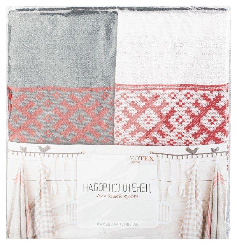 Набор полотенец 45х70- 2шт жаккард 200гр/м2 (Русский север, серый, белый)  Votex