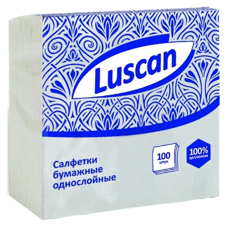 Салфетки бумажные Luscan 1сл24х24белые100шт/уп  Luscan