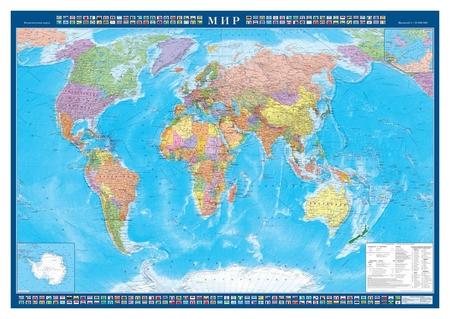 Настенная карта Мир политическая 1:22млн.,1,57х1,05м.  Атлас принт