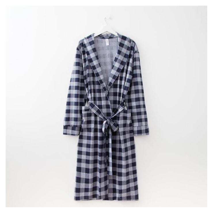 Халат мужской, цвет серый/синий, размер 48  Элиза