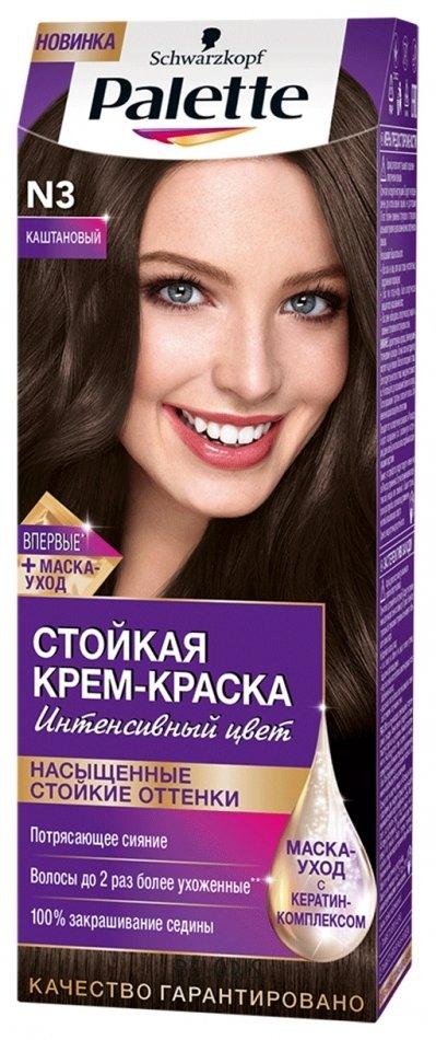 Купить Краска для волос Palette, Стойкая крем-краска Интенсивный цвет , Германия, Тон N3 Каштановый