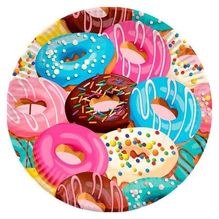 Тарелка одноразовая бумажная 18см пончики 6шт/уп арт.6058296  Пати Бум