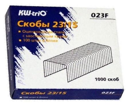 Скобы для степлера N23/15 Kw-trio 023f, оцинкованные 1000 шт в уп  Kw-trio