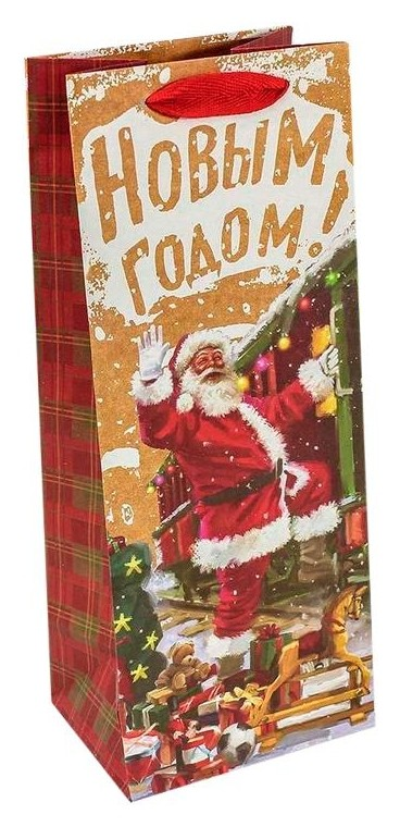 Пакет подарочный под бутылку крафт новогодний 14х35х11см арт.300367m  Omg-gift