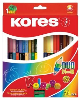 Карандаши цветные 48цв 24шт 3-гран,двустор с точилкой Kores 93224.  Kores
