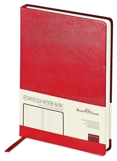 Ежедневник недатированный красный,а5,145х215мм,160л,br.v.megapolis  Bruno Visconti