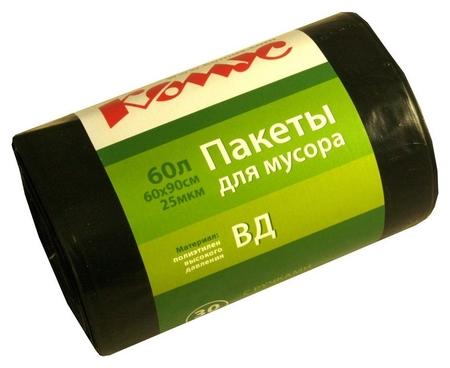 Мешки для мусора ПВД 60л 25мкм 30шт/рул черные 60x90см комус с ручками  Комус