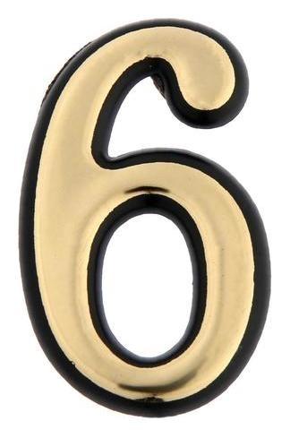 "Цифра дверная ""6"" Tundra, пластиковая, цвет золото 1 шт.  Tundra"