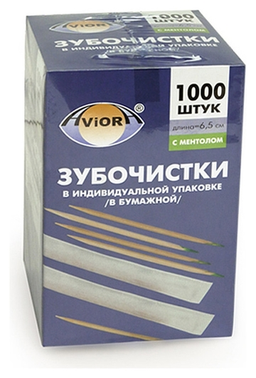 Зубочистки бамбук в инд. бум. упак. с ментолом 1000шт./уп. 401-609  Aviora