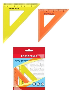 Набор чертежный малый 2 пр Erichkrause Neon (Угольн 7см/45° - оранж, 9см/45° - желт) 49561  Erich krause