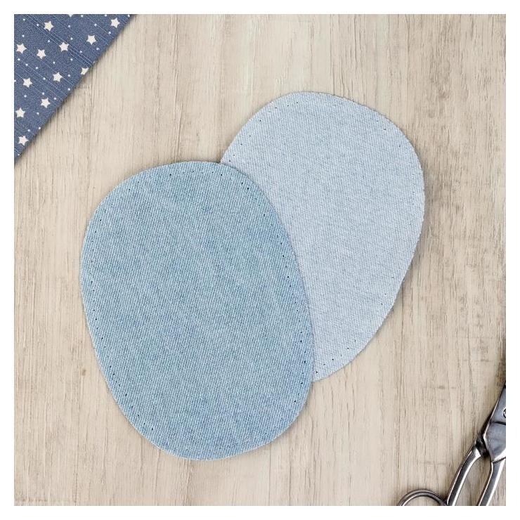 Заплатка термоклеевая джинсовая 10*14см (Набор 2 шт цена за набор) голубой  Prym