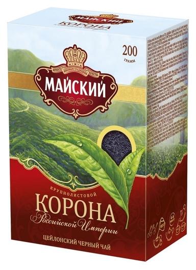 Чай майский корона российской империи черный крупнолистовой, 200г 13986  Майский
