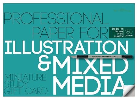 Бумага для иллюстраций а4,10л,блок 180гр, в папке 4-125  Bruno Visconti