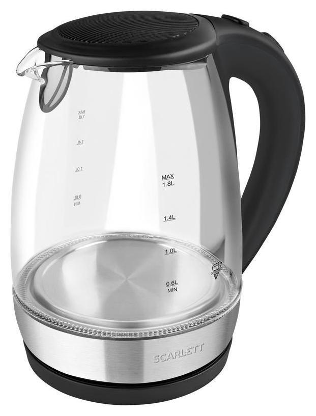 Чайник Scarlett Sc-ek27g89, 2200вт 1,7л, черный, стеклянный корпус  Scarlett