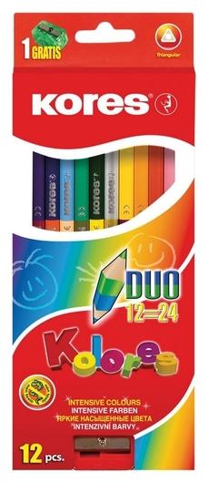 Карандаши цветные 24цв 12шт 3-гран,двустор с точилкой Kores 93212.  Kores