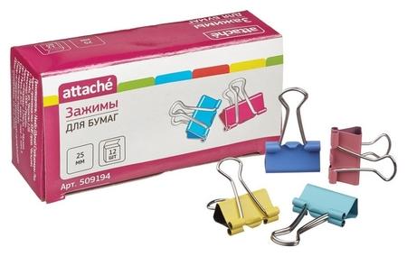 Зажим для бумаг цветные 25мм 12шт/уп Attache, в картонной коробке  Attache