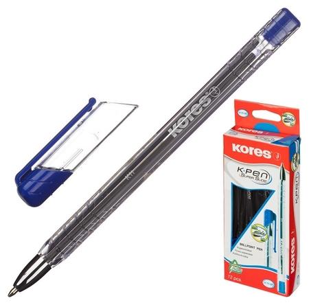 Ручка шариковая Kores К11 неавт M(1мм) треуг.корп., масляная, синяя  Kores