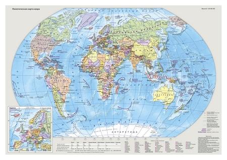 Карта настольная Мир и россия двусторонняя 1:80млн., 1:18млн., 0,49х0,34м.  Атлас принт