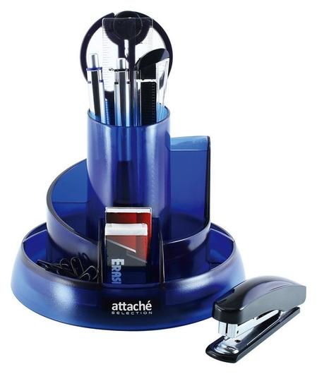 Набор настольный Attache Selection 10 предметов прозрачный синий S-908  Attache
