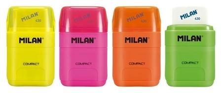 Ластик-точилка Milan Compact Fluo, цвет в ассорт., блистер (Bym10380)  Milan