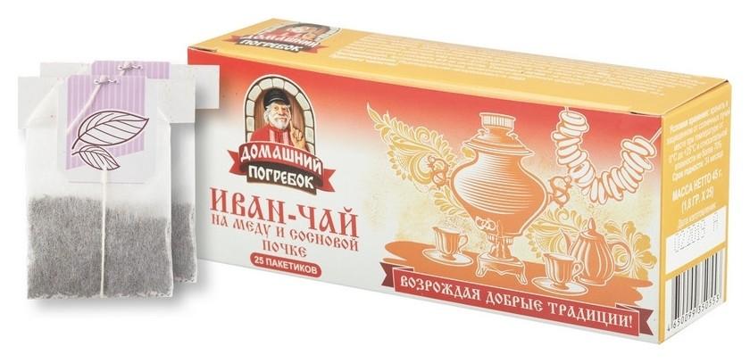 Чай домашний погребок иван-чай на меду и сосновой почке, 25 пак.  Домашний погребок