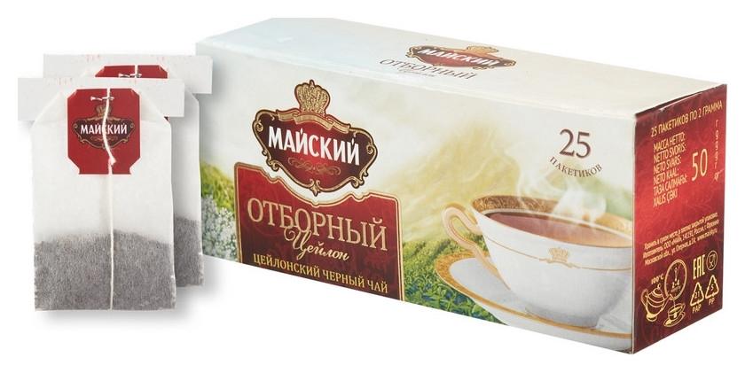 Чай майский черный отборный 25пакx2г  Майский