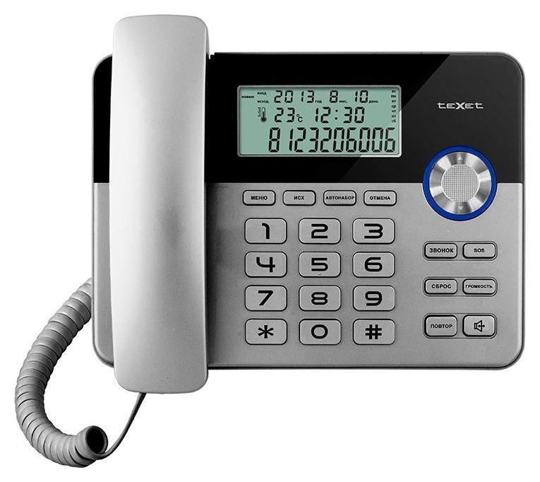 Телефон проводной Texet тх-259 черный-серебристый  teXet