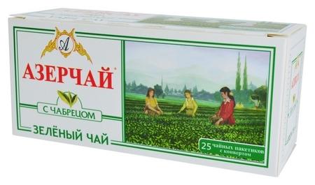 Чай азерчай зеленый с чабрецом, 25 пак 416022  Азерчай
