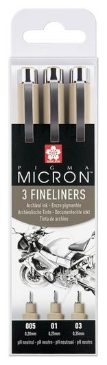 Набор капиллярных ручек Sakura Pigma Micron 3шт (0.2/0.25/0.35мм),xsdk3fd  Sakura