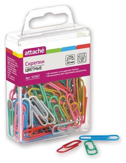 Скрепки Attache цветные, 28 мм, полимер, 100 шт.европодвес  Attache