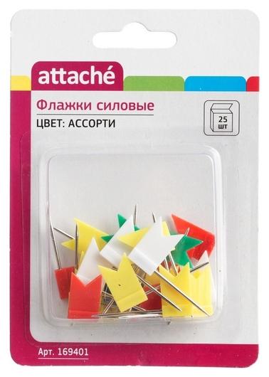 Кнопки для пробковых досок силовые флажки Attache, 25 шт./уп.  Attache